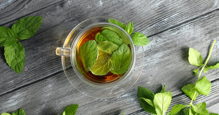 Glass of herbal tea with mint