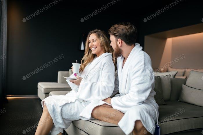 Couple enjoying wellness weekend
