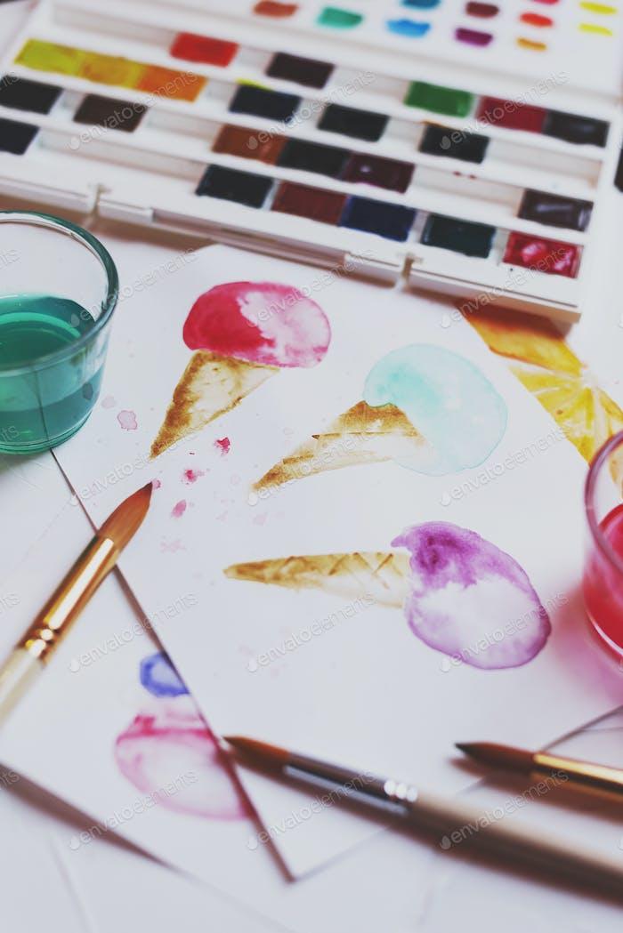 Palette von Aquarellfarben