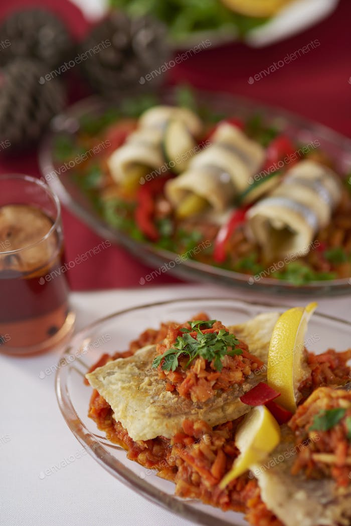 Greek style fish on Christmas table