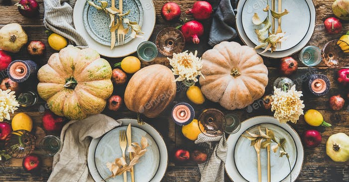 Table setting for Thanksgiving day or family dinner, wide composition