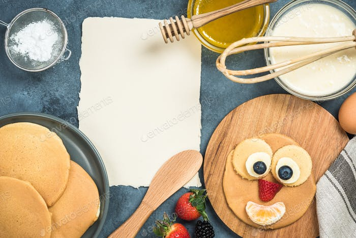 Recipe and ingredients for pancakes with funny face for kids