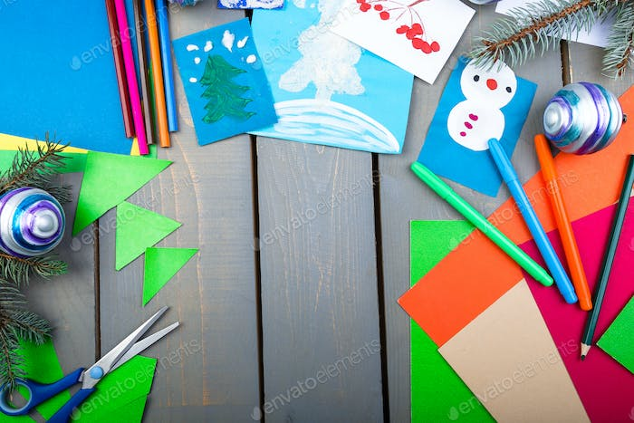 Christmas Handmade accessories on wooden table. Flat lay. Copy space,
