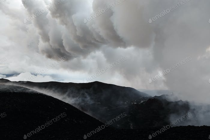 Mountain Landscape of Kamchatka: Volcanic Eruption Area