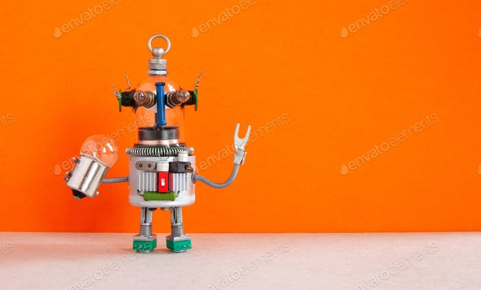 Fantastic robot handyman with light bulb. Fixing maintenance concept.