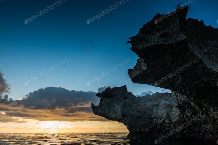Big volcanic rocks in sunset lights in San-Andres island, Caribb
