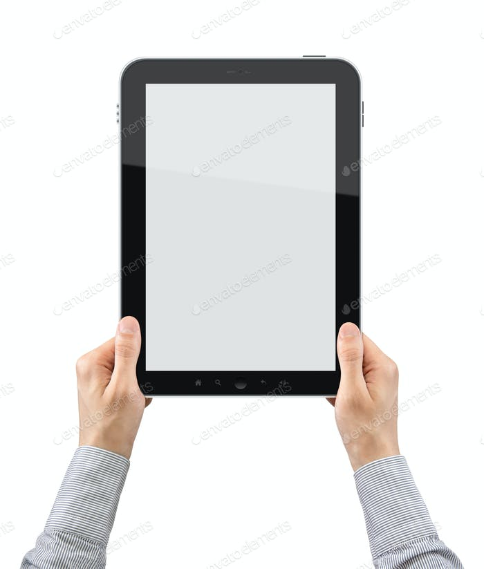 Holding Blank Tablet PC