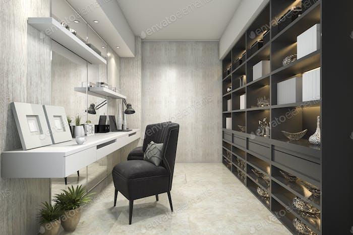 3D representación moderna sala de trabajo de lujo