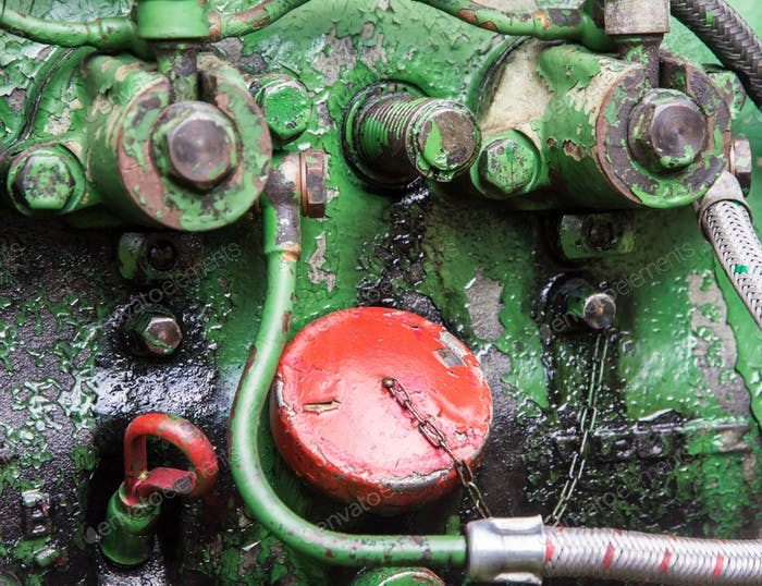 Detail of a historic tractor old-timer motor