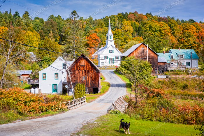 Rural Vermont, USA at Waits River Village