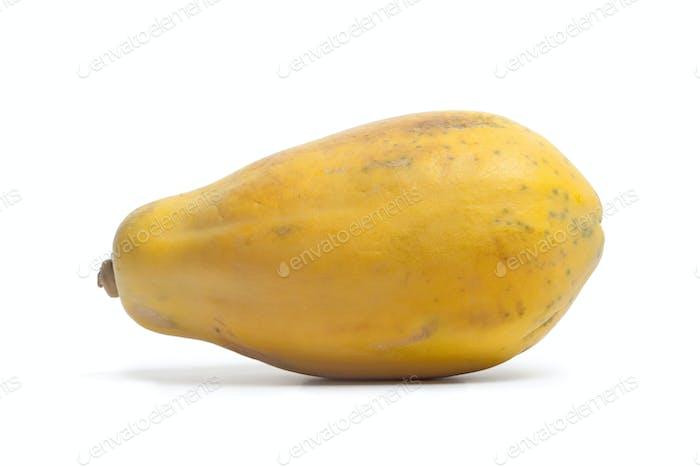 Whole single fresh papaya fruit