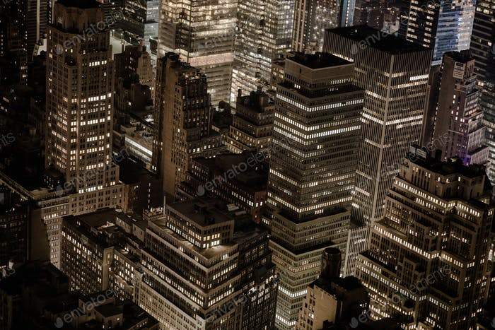 New York, Manhattan Aerial View at Night form the Empire State B