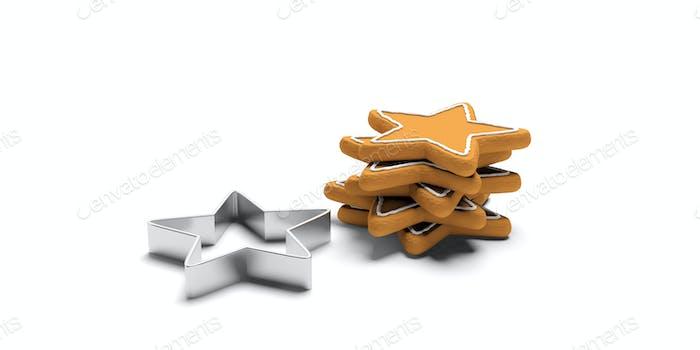 Lebkuchenkekse und -ausstecher in Sternform, isoliert, weißer Hintergrund