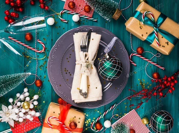 Festive christmas table setting concept