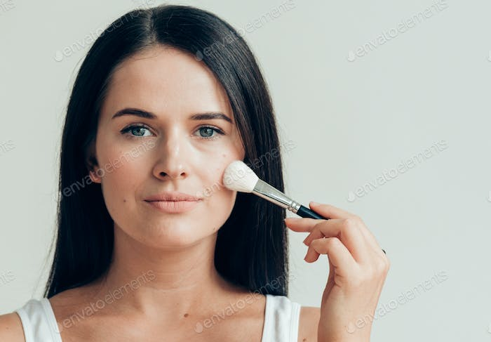 Brush  makeup woman face healthy skin natural make up powder