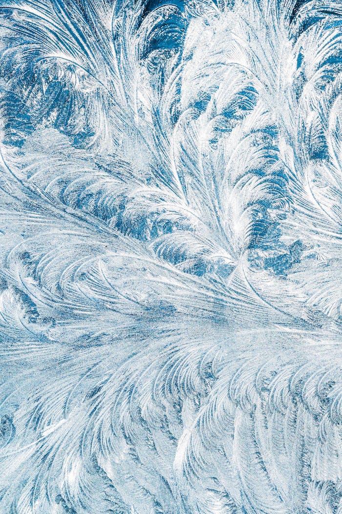 Blau Frosty Glas Eis Hintergrund, natürliche schöne Schneeflocken F