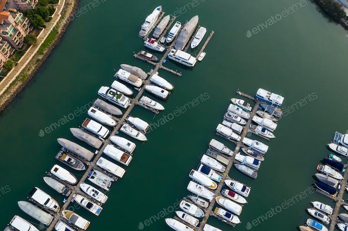 Tuen Mun, Hong Kong 27 September 2018:- Hong Kong yacht boat Typhoon shelter