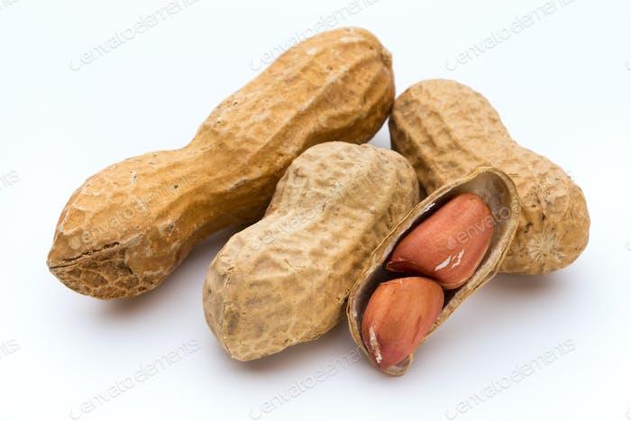Getrocknete Erdnüsse auf dem weißen Hintergrund.
