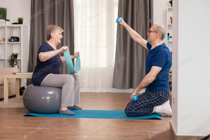 Active grandparents doing sports