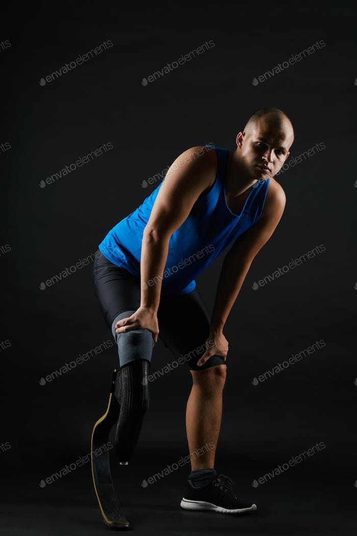 Paralympic sportsman taking part in competition