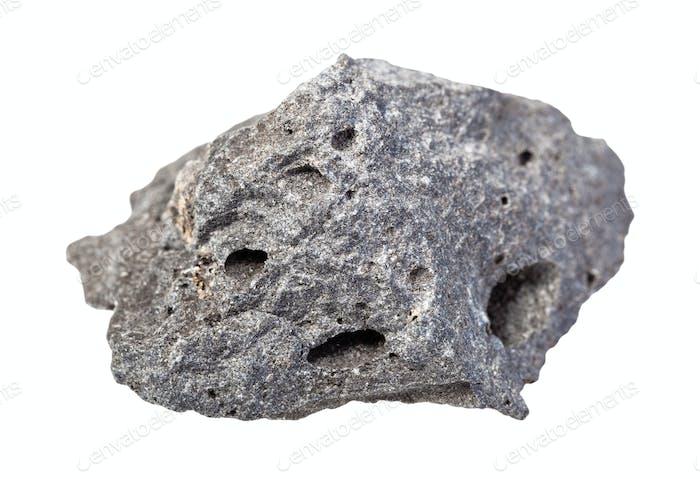 unpoliertes graues Basaltgestein isoliert auf weiß