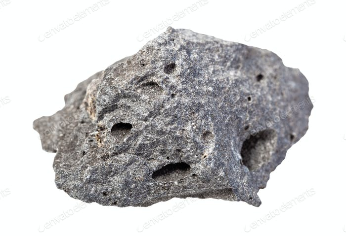 unpolished gray Basalt rock isolated on white