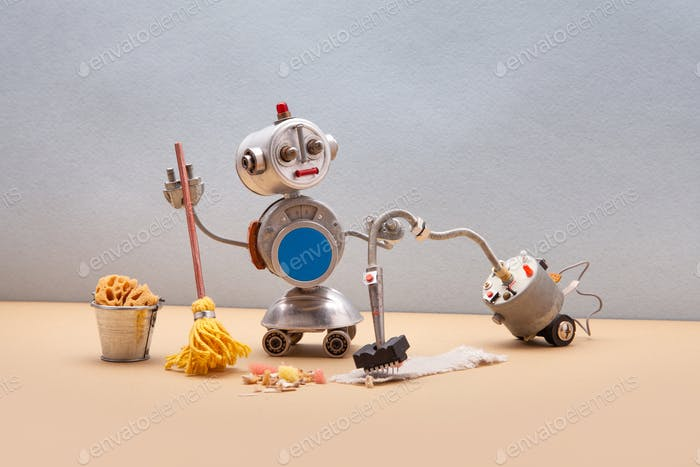 Domestic robot janitor with vacuum cleaner machine