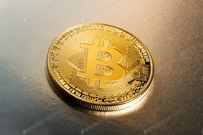 Single Bitcoin cryptocurrency on a gradient
