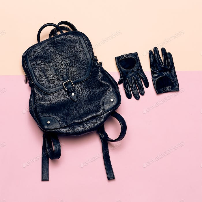 Fashion accessories for women. Leather gloves and backpack. Spri