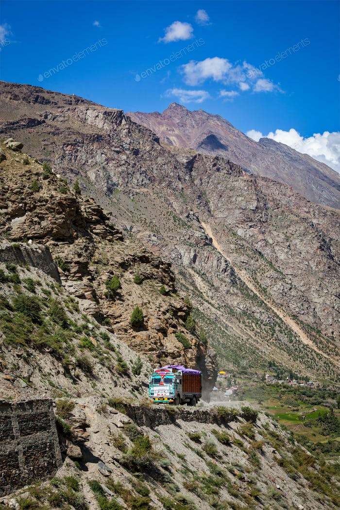 Manali-Leh road in Indian Himalayas with lorry. Himachal Pradesh