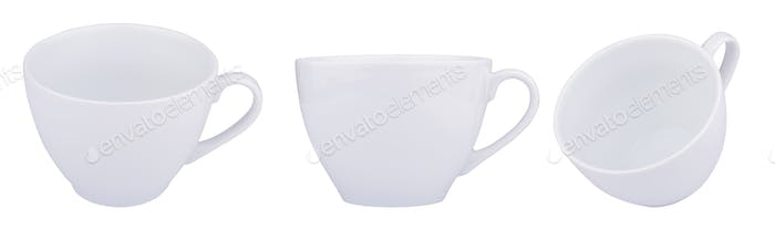 Empty white coffee porcelain cups isolated on white