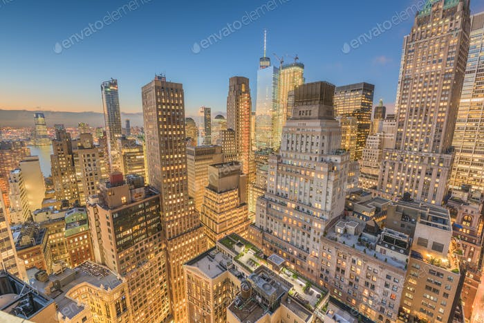 Aéreo del distrito financiero de Ciudad de Novedad York