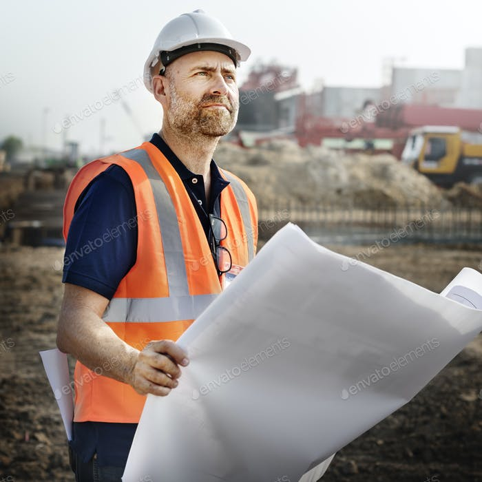 Construction Worker Planning Constractor Developer Concept