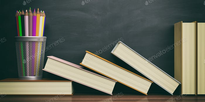 Colored pencils and books on a blackboard background. 3d illustration