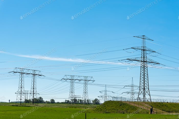 Electric pylons and power transmission lines