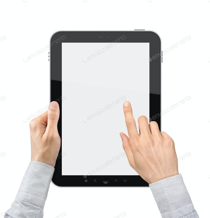 Holding And Point On Tablet PC Isolated
