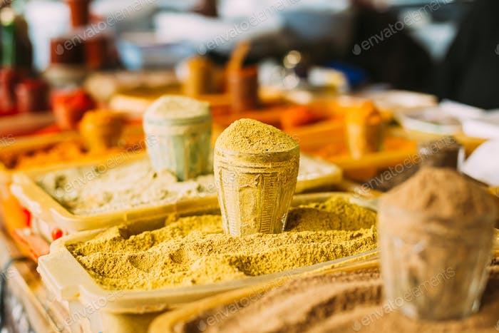 Wide Range Of Multicolored Powdered Fragrant Spices At Showcase Of Market, Bazar