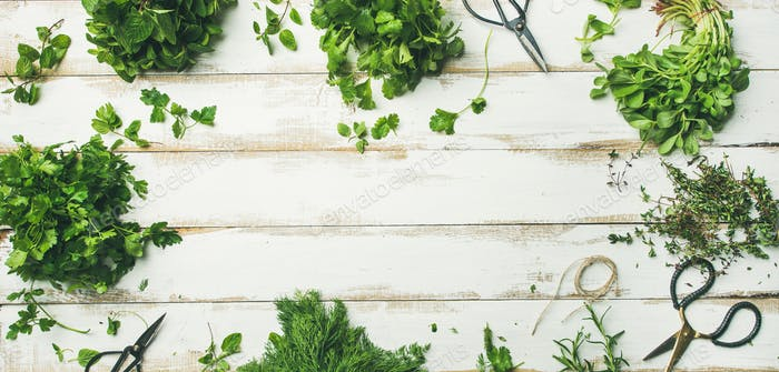 Various fresh green kitchen herbs over wooden background, wide composition
