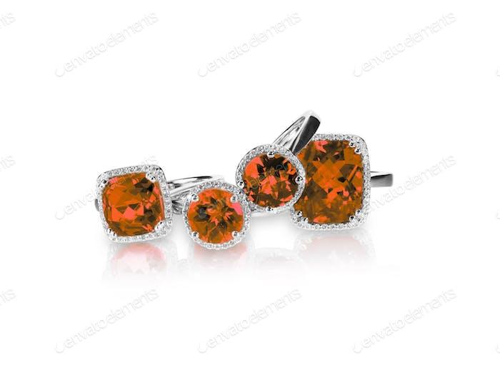 Set aus rotem Rubin und Diamantringen Edelstein feiner Schmuckgruppe Set.