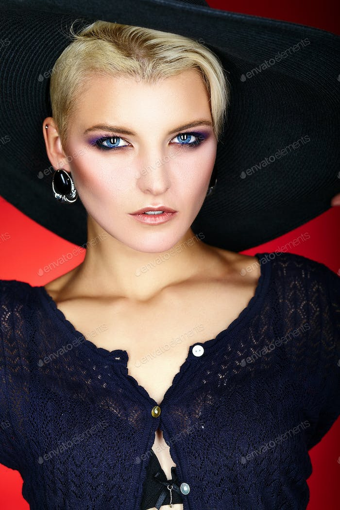 Blond woman with short hair