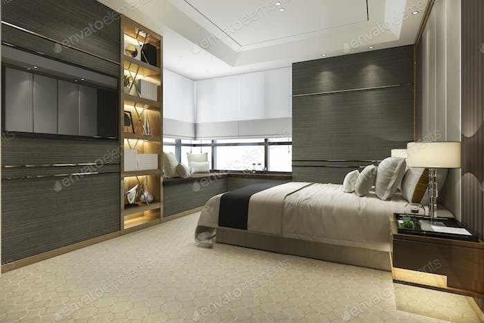 3d rendering wood modern luxury bedroom suite with bookshelf and cushion