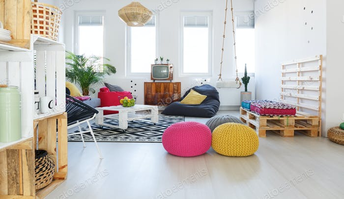 Colorful retro living room