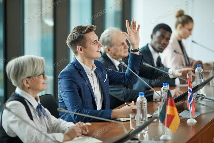 Businessman taking part at conference