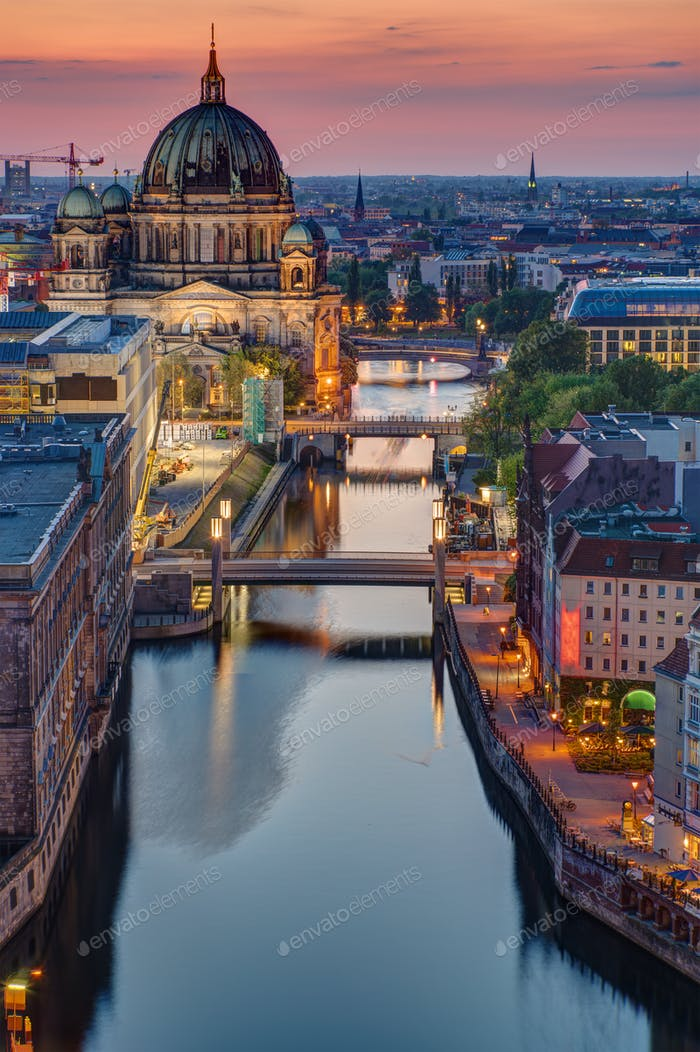 The Spree river in Berlin at sunset