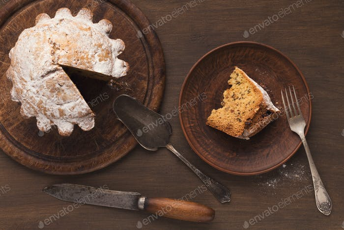 Easter cake on wooden plate