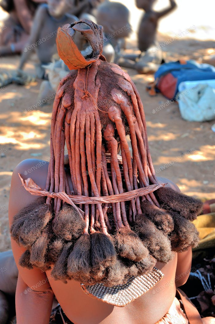 Hair style of a mature Himba woman