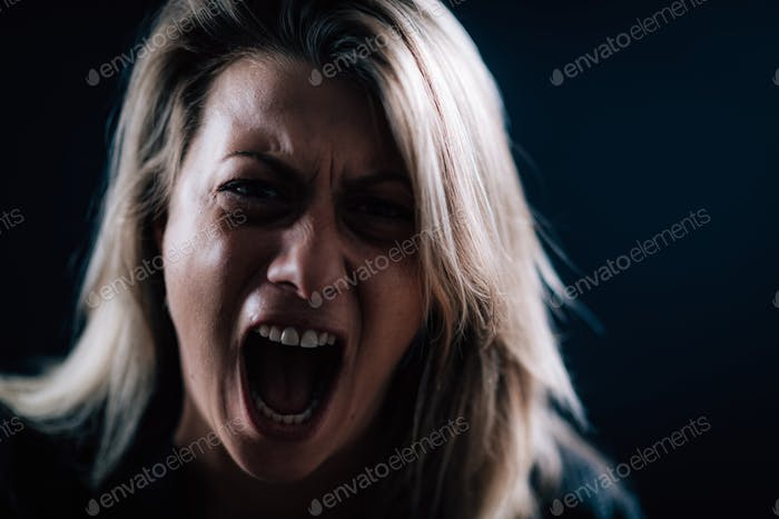 Anger - Intense Portrait of an Angry Woman