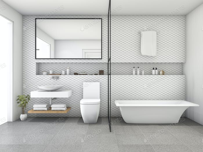 3d rendering white hexagon tile modern bathroom