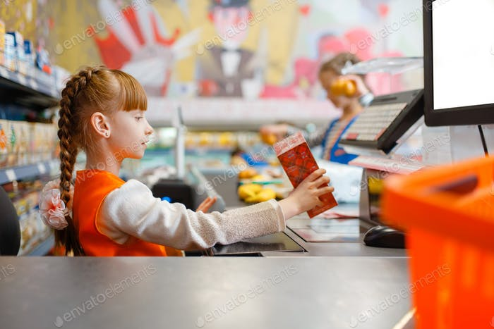 Girl in uniform at the cash register, playroom