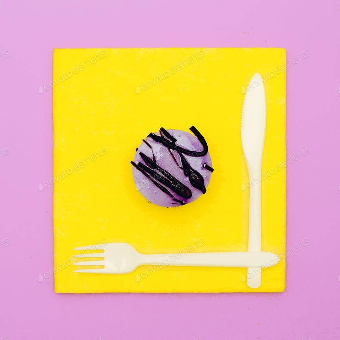 Bright fast food Mini cake surreal minimal creative art
